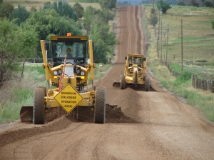 Graders prepping the road